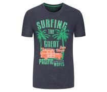 Modisches T-Shirt mit Beach-Motiv in Anthrazit