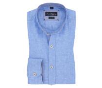 Leinen-Freizeithemd, Stehkragen in Blau