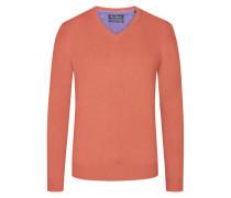 V-Ausschnitt Pullover mit Kaschmiranteil in Orange