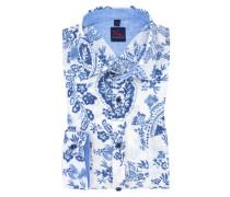 Leinenhemd mit 'Flower'-Muster in Blau