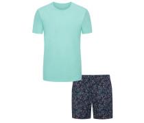 Schlafanzug mit Muster in Hellblau