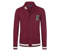 Sweatjacke im College-Look in Bordeaux