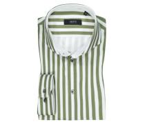 Jerseyhemd mit Streifen in Oliv
