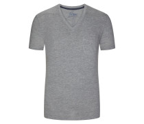 V-Neck Tshirt mit Brusttasche in Grau