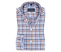 Kariertes Oxford-Freizeithemd, langarm in Braun