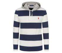 Sweatshirt mit Blockstreifen und Kapuze in Weiss