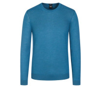 Basic Pullover, O-Neck, Slim Fit in Petrol