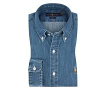 Jeanshemd im Washed-Look, Custom Fit in Blau