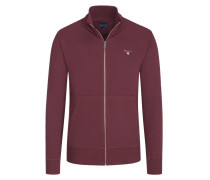 Sweatjacke mit Logo-Stickerei in Bordeaux