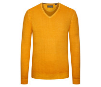 Pullover mit V-Ausschnitt aus Merinowolle in Gelb