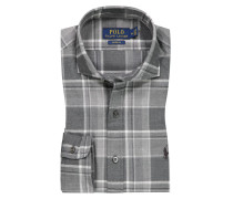 Flanellhemd mit Haifischkragen, Custom Fit in Grau