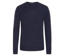 Pullover aus reiner Schurwolle, V-Neck in Blau