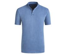Stehkragen Poloshirt im Washed-Look in Denim