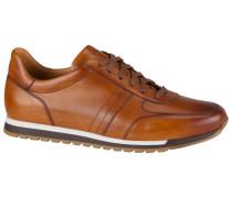 Sneaker aus Glattleder in Cognac