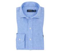 Freizeithemd aus 100% Leinen in Mittelblau