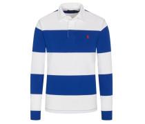 Poloshirt mit modischen Streifen, langarm in Blau