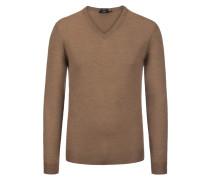 Pullover aus feiner Schurwolle, Slim Fit in Beige
