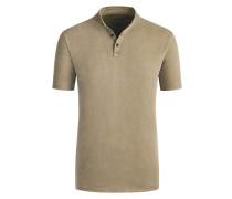 Stehkragen Poloshirt im Washed-Look in Oliv