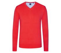 Basic V-Neck Pullover in Rot