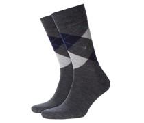 Socken aus Schurwolle, Argyle-Muster in Anthrazit