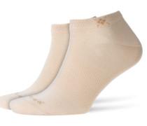 Sneaker-Socken im Doppelpack in Hellbraun
