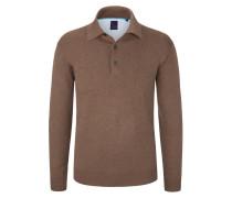 Pullover mit Polokragen in Braun