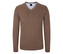 Basic V-Neck Pullover in Braun