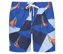 Badehose mit Allover-Print in Blau
