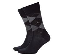 Socken aus Schurwolle, Argyle-Muster in Schwarz
