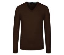 Pullover aus Merinowolle, Slim-Fit in Dunkelbraun