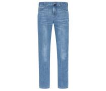 Jeans im Used-Look in Blau