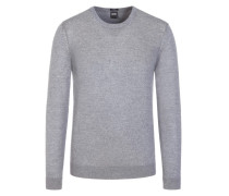 Basic Pullover, O-Neck, Slim Fit in Grau