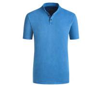Stehkragen Poloshirt im Washed-Look in Blau