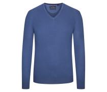 Pullover mit V-Ausschnitt aus Merinowolle in Blau