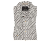 Freizeithemd mit Allover-Print in Grau