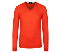 Pullover aus Merinowolle, Slim-Fit in Orange