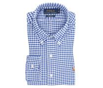 Oxfordhemd im Minimalkaro, Slim Fit in Blau