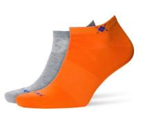 Sneaker-Socken im Doppelpack in Orange