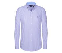 Gestreiftes Slim Fit Cotton Stretch Freizeithemd in Flieder für Herren