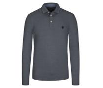 Poloshirt in feinem Streifenmuster in Schwarz