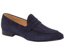 Eleganter Slipper in Veloursleder in Blau