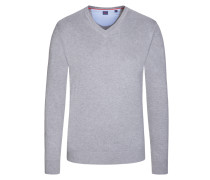 Basic V-Neck Pullover in Silber