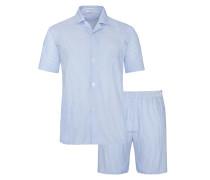 Kurzer Pyjama in Hellblau