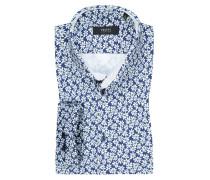 Jerseyhemd mit Blumen-Muster, Slim Fit in Blau