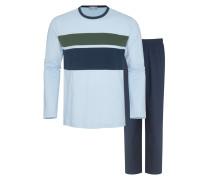 Bequemer Schlafanzug mit Blockstreifen in Blau