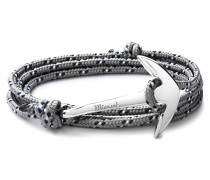 Stoffarmband mit versilbertem Anker in Grau