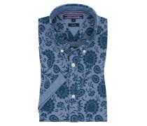 Slim Fit Kurzarmhemd, Flowerprint, reine Baumwolle