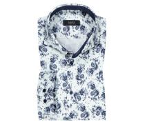 Jerseyhemd mit Paisley-Muster, Slim Fit in Weiss