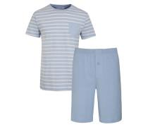 Kurzer Schlafanzug mit Streifen Muster in Hellblau