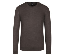 Basic Pullover, O-Neck, Slim Fit in Braun